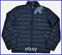 Neuf S M L XL Polo Ralph Lauren Hommes Veste Doudoune Pliant Noir Manteau Rouge