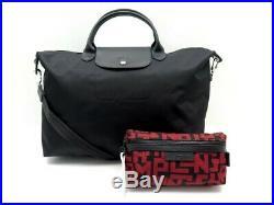 Neuf Sac A Main Longchamp Le Pliage Neo L + Pochette Lgp Toile Noir & Rouge 215
