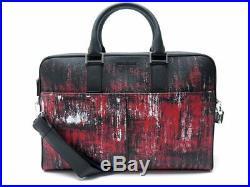 Neuf Sacoche Dior Homme Bandouliere En Cuir Graine Noir Et Imprime Rouge 1700