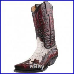 Neuf Sendra Bottes Chaussures Homme de Cowboy Python en Cuir Noir