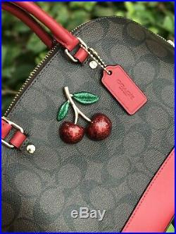 Neuf avec Étiquettes Coach Signature Mini Sierra Cerise Brun Noir Vrai Rouge &