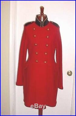 Neuf avec Étiquettes Ralph Lauren Militaire Laine Manteau Long Veste Rouge