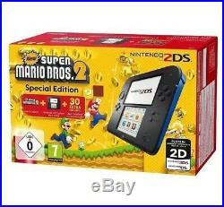 New Console 2ds Noir Bleu Nintendo System Super Mario Bros 2 EU NEUF
