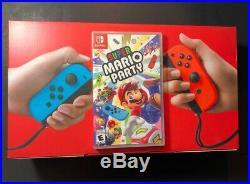 Nintendo Interrupteur V2 32GB Rouge Néon Fluo Bleu Joie Con + Super Mario Neuf