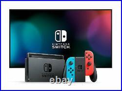 Nintendo Switch avec paire de JoyCon Rouge Néon et Bleu Néon NEUF ET EN BON ETAT