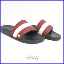 P-647963 Neuf Bally Sleter Noir/Rouge/Caoutchouc Blanc Glissière Us 8 UK 7 de