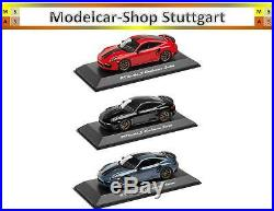 PORSCHE 911 Turbo S EXCLUSIF série noir, rouge indien, bleu Spark 143 NEUF