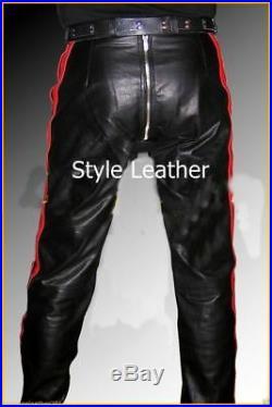 Pantalon en Cuir Neuf Cuir Noir Rouge Gay Pantalon Designer Séries