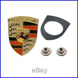 Porsche 911 914 927 Oes Rouge et Noir Émail sur Doré Capuche Emblème Kit Neuf