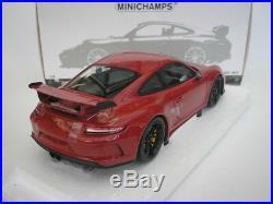 Porsche 911 GT3 2017 Rouge Noirs Jantes 1/18 Minichamps 110067020 Neuf