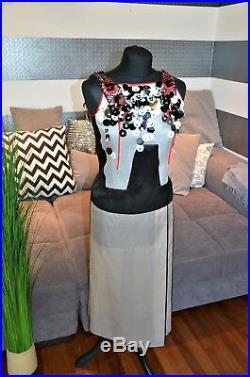 Prada Robe en Soie, Wolle Np. 1.690 Gr. 38 Noir, Rouge, Gris Neuf