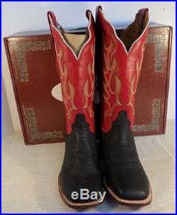 Resistol M3080 HOMME Tuff Hedeman Noir Bull Épaule Rouge Bottes Western Neuf