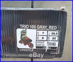Rollers K2 TRIO 100- taille 39.5 mixte couleur noir et rouge (comme neuf)