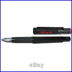 Rotring 600 Noir Stylo Plume Fine PT & Convertisseur W Lettrage Rouge Neuf en