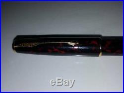 Rouge Marbre Noir Laque Sonnet Parker Fontaine Stylo 18K Doré Nib (Fin) Neuf