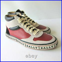S-1354158 Neuf Bally Rouge Ilvo Cuir Veau Hitop Baskets Taille US 7D