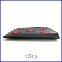S-2351119 Neuf Saint Laurent Étoile Rouge Noir Cuir Fermeture Éclair Pliage