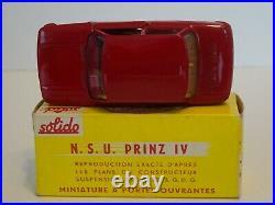 SOLIDO Sie 100 Ref 127 NSU Prinz rouge intérieur beige plancher noir Neuf Boite