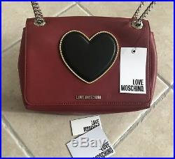 Sac porté épaule MOSCHINO Femme Chaîne Rouge et Noir Neuf Authentique