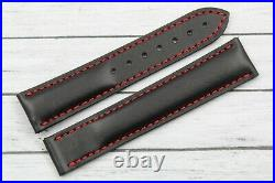 Sangle OMEGA Cuir Noir Coutures Rouges Neuf Speedmaster Sangle Band Sportif