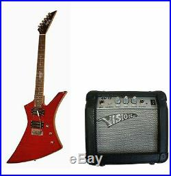 Set Guitare Style Explorer Heavy Metal Rouge + Amplificateur Da 20 Watt Neuf