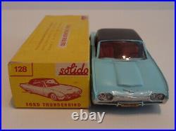 Solido 100 128 Ford Thunderbird bleu clair plancher noir int rouge neuf boite