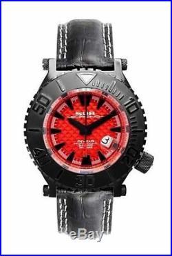 Sub Chrono Montre de Luxe Diving XXL Noir/Rouge Suisse Ronda Tout Neuf