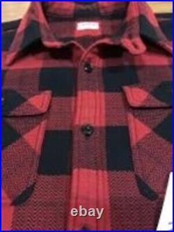 THE FLAT HEAD Flanelle Chemise Bloc Carreaux Rouge Noir Taille 42 Neuf De Japon