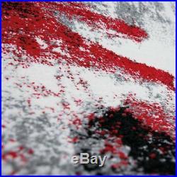 Tapis Design Artistique Abstrait Gris Rouge Noir Neuf