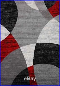 Tapis Salon Rouge Gris Noir Moderne Cercle Rayé Moucheté à Poils Ras Neuf