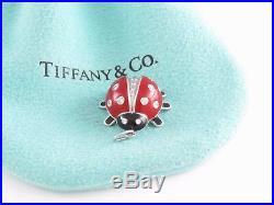 Tiffany & Co Neuf Rare Platine Rouge Émail Noir Diamant Coccinelle