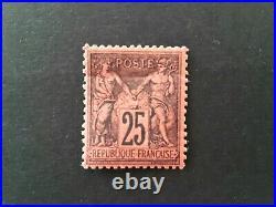 Timbre de france n91 type sage noir sur rouge neuf signé C. Calves. Ea