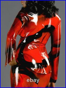 Top latex rouge et noir manches longues tailles M, L NEUF, top fetish latex