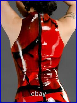 Top latex rouge et noir sans manches XL NEUF, top fetish latex