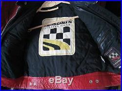 Vêtement femme blouson moto CUIR rouge noir HELTONS taille L neuf 450