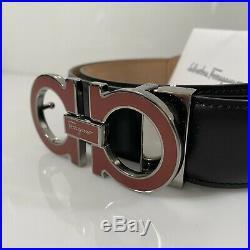Y-1243119 Neuf Salvatore Ferragamo Cuir Noir Rouge Ceinture Boucle 38 pour 36